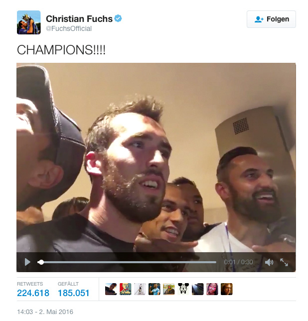 A real Fox: Christian Fuchs was actively tweeting the championships on Twitter – #nofuchsgiven. Quelle: Twitter, @FuchsOfficial