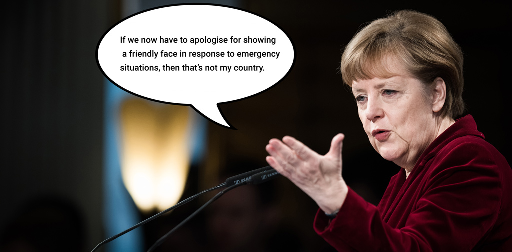 Merkel's political and humanitarian statement: One of the few times the chancellor actually stepped out of her comfort zone. Foto: Tobias Kleinschmidt, Bearbeitung: tom
