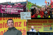 Antifa-activists trying to impede the convention while protesters celebrated Cologne's cosmopolitan attitude. Well-known politicians like Cem Özdemir and Hannelore Kraft also showed support. Foto und Collage: Jan Turek