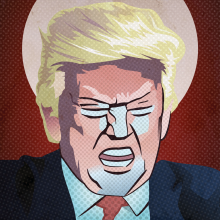 The Republican Saint: Even conspiracy theories are alright, when it comes to defending Trump.  Symbolbild